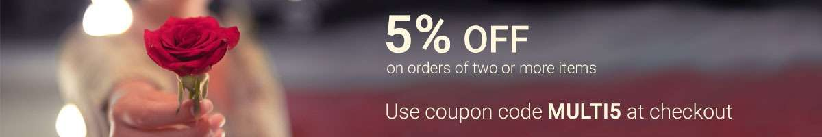 5% off on orders of two or more items. Use coupon MULTI5 at checkout.