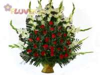 Fan Arrangement of Roses & Gladiolas