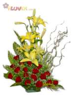 Yellow Lilies with Red Roses