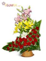Assorted Lilies and Red Roses